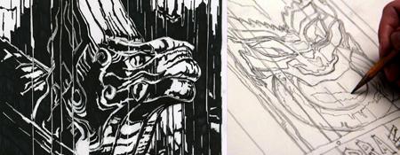Dragon Woodcut art lesson by Ian Murphy