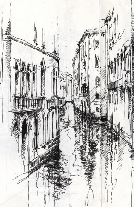 Line Drawing Venice : Venetian canal ian murphy sketchbooks