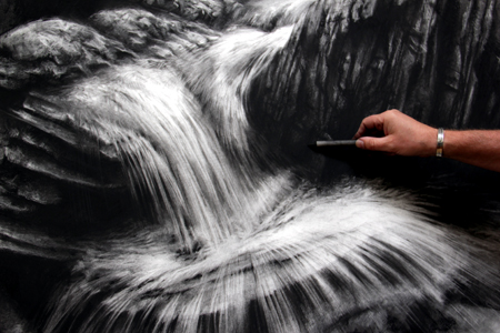 Waterfall Charcoal Drawing