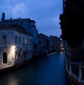 Venice, drawing at night